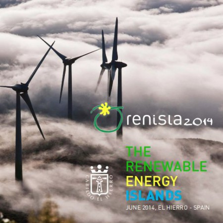 L'affiche de Renisla reprend et interprète une photographie de quatre moulins du parc du l'île (qui en compte cinq), dans le brouillard qui est la signature du paysage météorologique de l'île. Affiche : Cabildo de El Hierro.