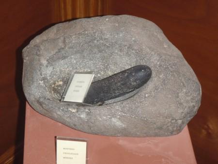 Mortier en pierre des Guanches, les aborigènes berbères des Canaries, utilisé pour broyer les grains. Musée de Tiscamanita, Fuerteventura. Cliché : A. Gioda, IRD.