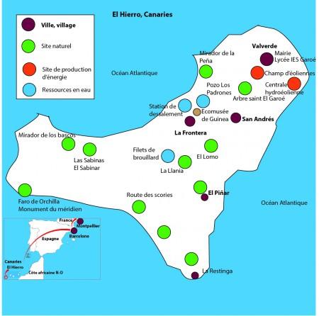 Carte des visites de terrain prévues par les lycéens de Jean Monnet -Club Jeunes IRD sur El Hierro. Dessin : M. Tapiau, IRD.