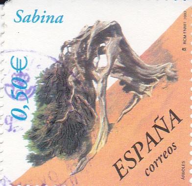 """Sur un timbre espagnol de 2002, le genévrier de Phénicie le plus connu au niveau national : la """"sabina"""" d'El Hierro."""
