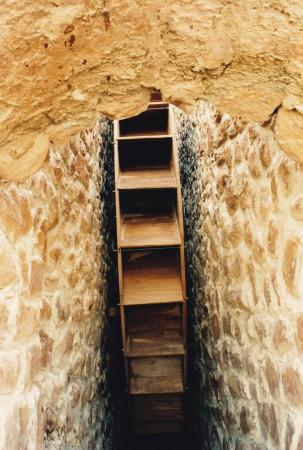 Détail de la roue hydraulique de l'Ingenio San Marcos, Potosi, Bolivie. Restauration de l'usine homonyme par le PRAHP et la supervision technique de Carlos Serrano Bravo. ©A. Gioda, IRD, vers 1998.
