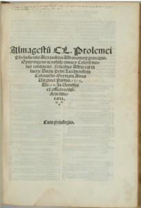 Edition latine de l'Almageste publiée en 1515 à Venise.