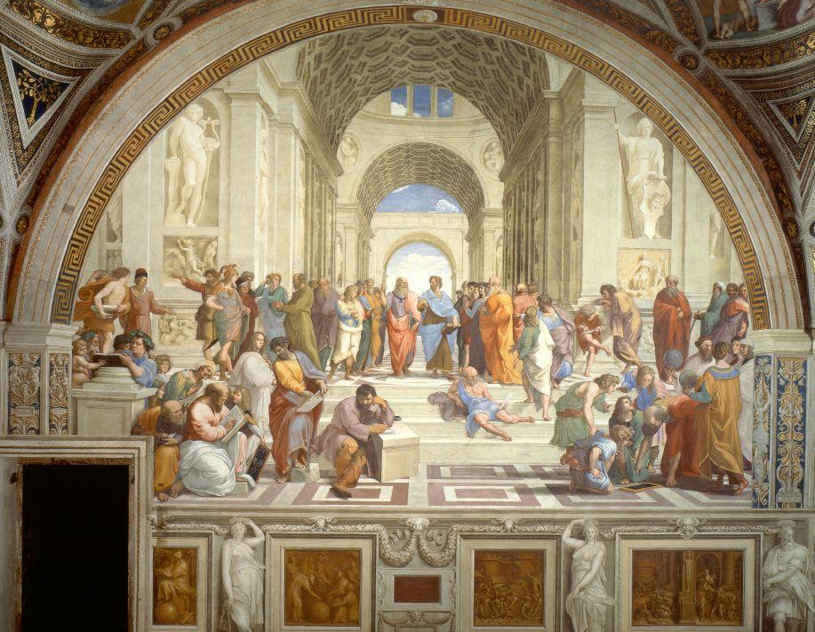 """Dans l'Ecole d'Athènes de Raphaël sont représentés ls philosohpes emblmatiqeus de la Grèce antique parmi lesquels Pythagore et Platon, qui ont assimilé l'univers à une entité belle, organisée et intelligible : un """" kosmos"""""""