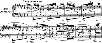 Début du Nocturne n°5 en fa dièse majeur de Frédéric Chopin