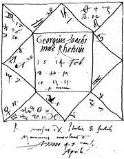 Horoscope de Rheticus. Comme tous les astronomes de son temps - à l'exception notable de Copernic - , Rheticus pratiquait assidûment l'astrologie.