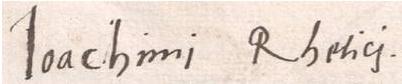 Signature autographe de Rheticus