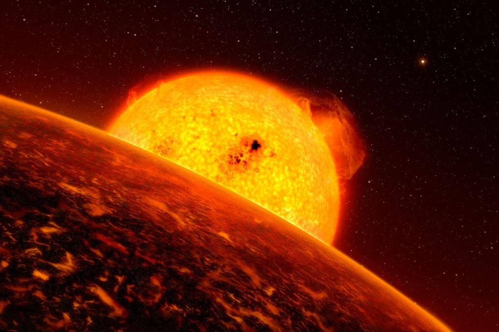 Vue d'artiste de l'exoplanète Corot-7b, une planète rocheuse sur laquelle règnent des conditions extrêmes : elle gravite si près de son étoile que la température de sa face éclairée monte à 2000 °C. Sa surface pourrait donc être recouverte de lave en fusion.