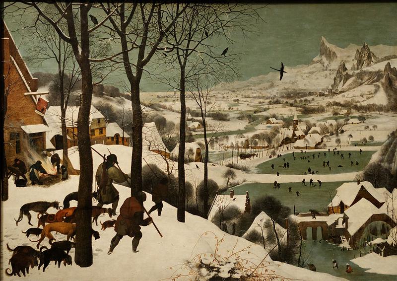 Le petit âge glaciaire s'est trouvé représenté en peinture, comme en témoigne ce splendide tableau de Pieter Brueghel l'Ancien daté de  1565.