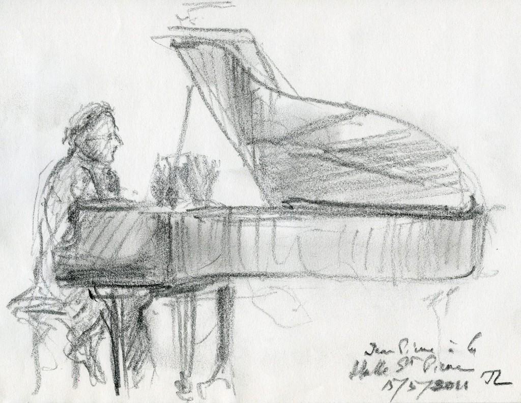 En récital à la Halle Saint-Pierre le 15 mai 2011, croqué sur le vif par mon ami Jean Letourneur