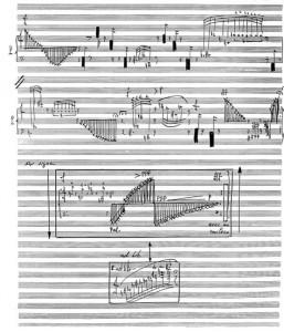Extrait de la partition de Cygnus X7 de Tristan Clais, pour piano et orchestre (1987)