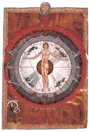 """L'homme médiéval se sent en harmonie avec le ciel, ses astres et ses constellations. Enluminure extraite du """"Livre des heures Divines"""" de Hildegarde von BIngen"""