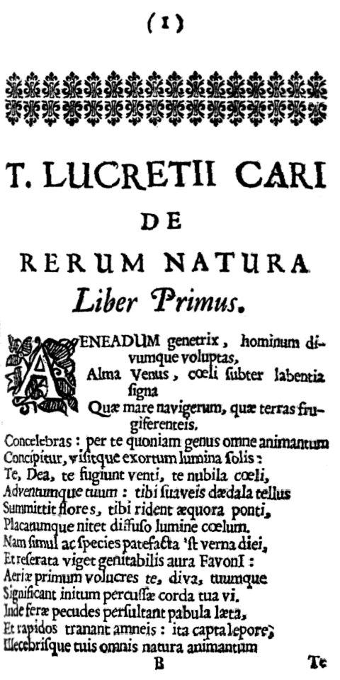 """Dans """"De rerum natura"""" (la nature des choses), le poète latin expose merveilleusement la philosophie atomiste de Démocrite et Epicure."""