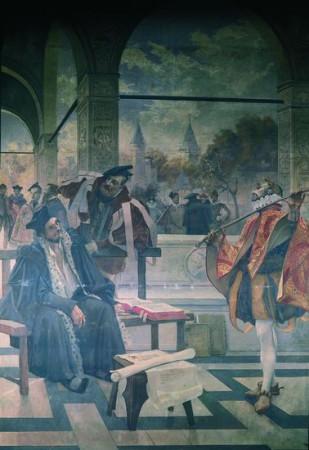 Quelques éléments illustres de la Pléiade. Fresque représentant au premier plan Dorat, professeur de Joachim du Bellay et de Pierre de Ronsard. (La Sorbonne, Paris.)