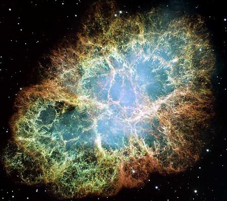 Explosion de supernova, dite Nébuleuse du Crabe.