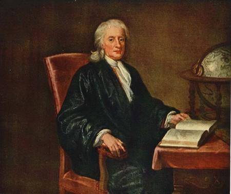 Porteait de newton en 1726, par Seeman. Alors âgé de 84 ans, il raconte à sa façon comment, soixante ans auparavant, lui est venue l'idée de l'attraction universelle.