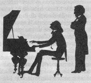 Caricature de Wagner écoutant Franz Liszt au piano.