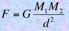 Selon Newton, les mouvements célestes sont dus à une force d'attraction universelle exprimée par cette formule mathématique