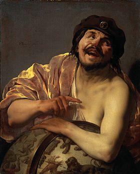 Démocrite riant , le bras posé sur un globe céleste (Hendryck  ter Bruggen, 1628)