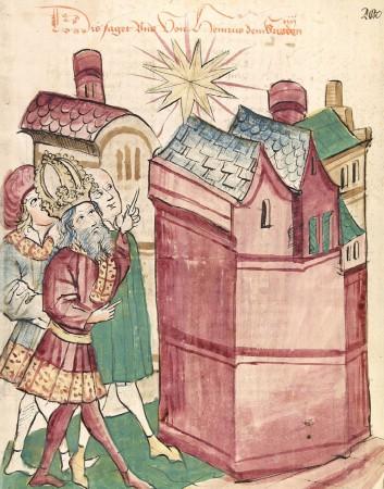 Henry III (1017-1056), Empereur du Saint Empire Romain, pointe du doigt l'étoile nouvelle de 1054. Si cette apparition a été très peu documentée en Occident, les astronomes chinois et japonais de l'époque l'ont décrite minutieusement. Elle a pu rester visible en plein jour durant plusieurs mois, avant de disparaître.