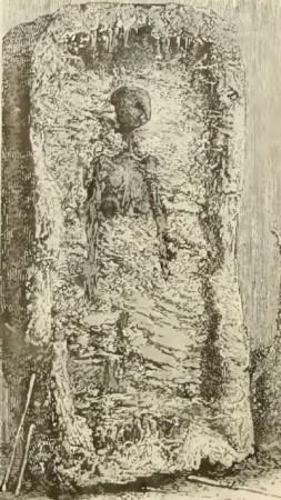 """La momie martienne décrite dans le récit de De Parville et reproduite dans """"Les Terres du Ciel"""" de Flammarion"""