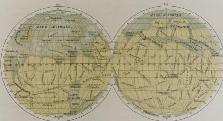 """Les canaux martiens selon Schiaparelli, eproduits dans """"La Planète Mars"""" de Camille Flammarion (1892)"""