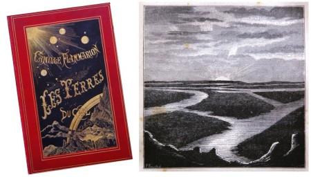 """Une gravure du livre """"Les Terres du Ciel"""" de Camille Flammarion, paru en 1884, qui illustre """"le lever du soleil sur les canaux de Mars"""". À l'époque, les astronomes n'étaient pas opposés au fait que pratiquement chaque planète du système solaire puisse abriter la vie."""