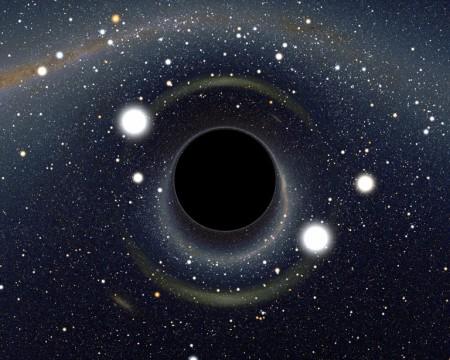 Mirage gravitationnel produit par un trou noir situé sur la ligne de visée du Grand Nuage de Magellan (LMC). En haut de l'image on reconnaît aisément la partie méridionale de la Voie Lactée avec, en partant de la gauche, Alpha et Beta Centauri, la Croix du Sud. L'étoile la plus brillante proche du LMC est Canopus (vue deux fois). La seconde étoile plus brillante est Achernar, vue aussi deux fois© Alain Riazuelo, CNRS/IAP