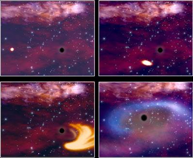 Quatre instantanés de la rupture d'une étoile par les forces de marée d'un trou noir géant (vue d'artiste)