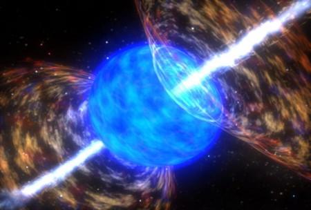 Simulation numérique d'une explosion d'hypernova, donnant naissance à un sursaut de rayonnement gamma et formant un trou noir au centre.