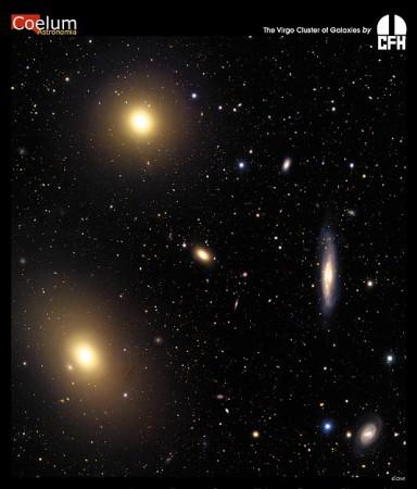 L'amas de la Vierge est un grand amas de galaxies proche de nous, à environ 60 millions d'années-lumière. Il fut découvert par Charles Messier en 1781, qui cartographia un grand nombre de ses galaxies les plus importantes, notamment la géante M87. Mélange hétérogène de galaxies spirales et elliptiques, cet amas est situé dans la constellation de la Vierge et comporte entre 1 300 et 2 000 galaxies, parmi lesquelles les explosions de supernovae et les coalescences de binaires compactes sont suffisamment fréquentes pour engendrer des ondes gravitationnelles détectables sur Terre. C'est donc la cible principale des interféromètres VIRGO et LIGO.
