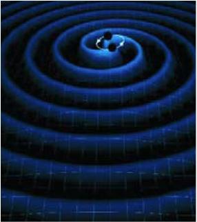 Un système binaire de trous noirs et les ondes gravitationnelles engendrées par leur mouvement orbital (vue d'artiste).