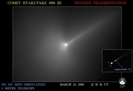 Début de fragmentation du noyau de la comète Hyakutake observé le 25 mars 1996 au télescope de 1 mètre du Pic du Midi.