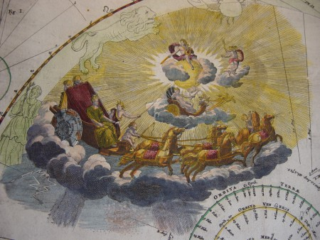 In 1742, Johann Doppelmayer représente allégoriquement les transits de Mercure et de Vénus idans son splendide Atlas Coelestis.