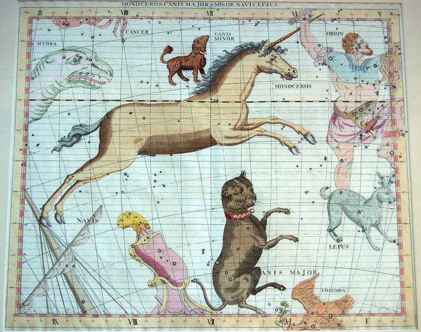Les constellations du Grand Chien et du Petit Chien suivent le chasseur Orion dans le célèbre Atlas Coelestis de John Flamsteed, publié à titre postume en 1729.