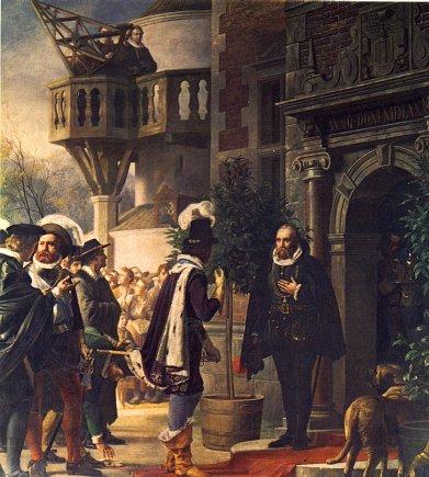 Entouré de ses molosses, Tycho Brahe reçoit dans son palais d'Uraniborg le jeune roi du Danemark, Christian IV.