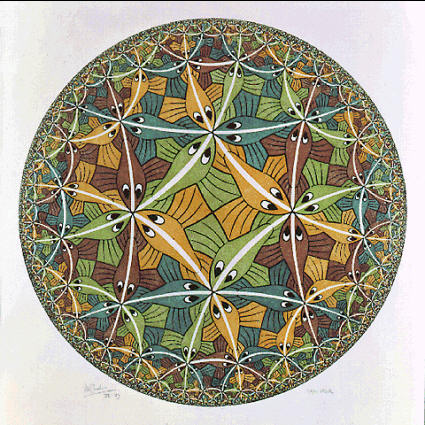 Circular Limit III, zn engraving by M.C.E. Escher, using the Poincaré representation of hyperbolic space.