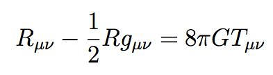 La célèbre équation du champ proposée par Einstein en 1916 pour sa théorie de la relativité générale