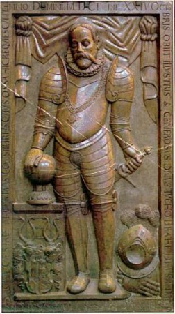 Pierre tombale de Tycho Brahe dans la cathédrale Notre-Dame de Tyn à Prague