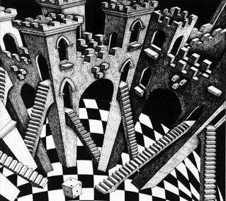 """Ma lithographie de 1993 intitulée """"Le château d'Oscar""""."""