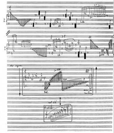 Une page de la partition de Cygnus X7, pour piano et orchestre.