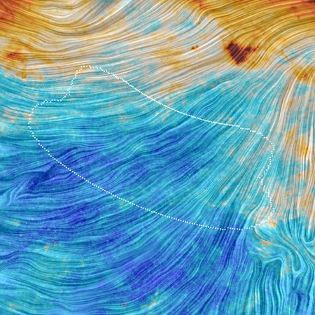 Carte à 353 GHz de 40 par 40 degrés. Les couleurs indiquent la température alors que les reliefs indiquent la direction du champ magnétique galactique d'après la direction de  la polarisation.  Crédits: ESA - Collaboration Planck